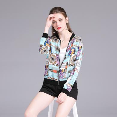 法米姿 2019夏季新款女裝歐美時尚印花雪紡衫棒球服空調衫防嗮小外套上衣   59017