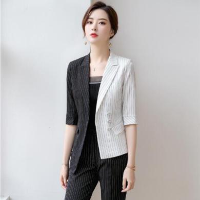 妙芙琳  2019秋季新款條紋西裝外套女時尚氣質中袖不對稱西服工作服