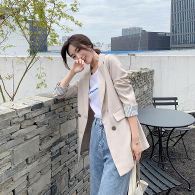 妙芙琳  2019秋季女裝新款韓版復古寬松質感chic網紅小西裝外套女