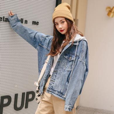 妙芙琳 2019秋季女裝新款牛仔外套女裝寬松流行韓版百搭款上衣帶帽子