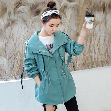 百依戀歌 新款潮韓版寬松大碼時尚休閑款外套風衣女 9905