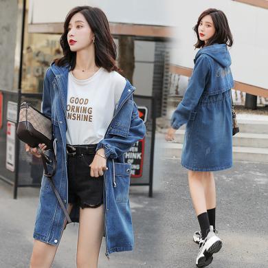 妙芙琳  2019秋季新款女韩版修身显瘦休闲烫钻中长款牛仔服风衣学生外套
