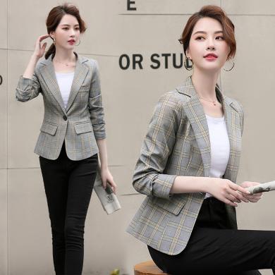 熤笙靘 秋季气质韩版女装长袖西装领修身小西装外套    WA901