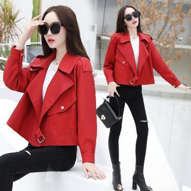 熤笙靘 女裝2019秋季新品韓版修身外套時尚氣質短款PU皮女式皮衣   Z9117