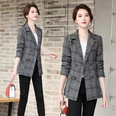 熤笙靘 2019秋季氣質韓版女裝印花長袖西裝領修身外套   WA905