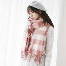 修允菲甜美小方格流苏针织围巾女冬季仿羊绒格子围脖围巾WJ2047