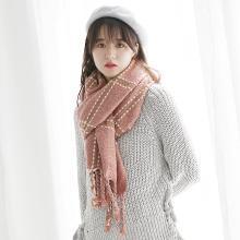 修允菲冬季新款流苏大格子围巾女日韩羊绒针织围脖披肩WJ2046