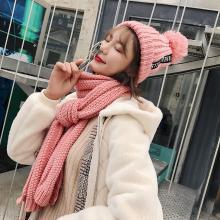 修允菲韩版新款毛线围巾帽子二件套女秋冬季加长字母贴标纯色针织围脖潮MM52