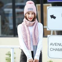 修允菲韩版秋冬季毛线围巾帽子二件套时尚字母贴标针织帽女士保暖围脖潮MM62