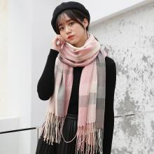 修允菲冬季格子围巾女针织流苏披肩新款韩版仿羊绒保暖围脖wj1026