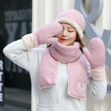 修允菲韩版冬季新款时尚纯色保暖针织围巾帽子手套三件套女MY28