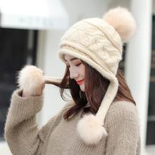 修允菲韩版秋冬季新款兔毛球针织帽女学生时尚百搭保暖加厚毛线帽子MM63