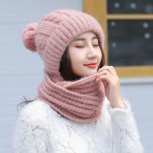 修允菲韩版秋冬季纯色毛线帽子围脖二件套女士学生保暖针织帽潮MM66