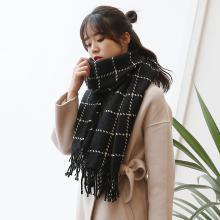 修允菲新款秋冬加厚仿羊绒围巾粗毛线格子围巾韩版女士针织围脖WJ1018
