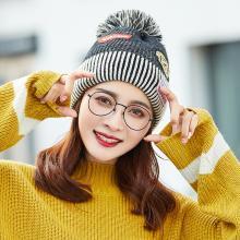 修允菲韩版秋冬天时尚字母贴标毛线帽子女士针织保暖护耳帽可爱学生帽潮MM48