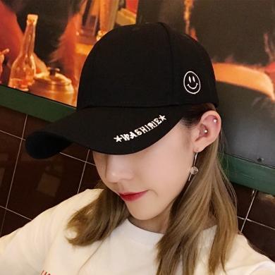 修允菲2019新款韓版帽子女春夏新品時尚百搭笑臉棒球帽潮人復古黑色長帶子鴨舌帽