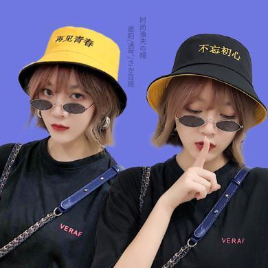 修允菲漁夫帽女韓版雙面ins網紅盆帽男潮日系原宿學生街頭帽子B01