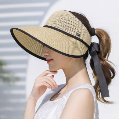 修允菲新夏季蝴蝶結空頂遮陽帽女度假沙灘帽防曬大檐太陽折疊草帽KMZ193