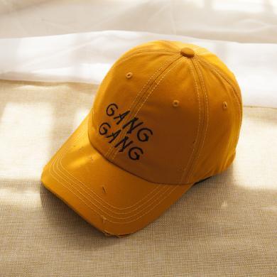 修允菲 2019春季新款棒球帽戶外磨破刺繡遮陽帽韓版百搭防曬鴨舌帽男女
