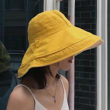 修允菲2019雙面漁夫帽出游可折疊防曬雙色大沿帽子時尚搭配韓版盆帽子