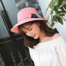 修允菲夏季草帽女士遮阳帽大檐帽防晒沙滩帽花朵太阳帽子 MZ157