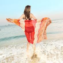 修允菲2019新款民族风围巾丝巾春夏海边旅游防晒沙滩巾雪纺披肩RDSJ2035