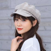 修允菲 小清新2019夏季格纹八角帽女英伦韩版百搭遮阳帽子薄款贝雷帽