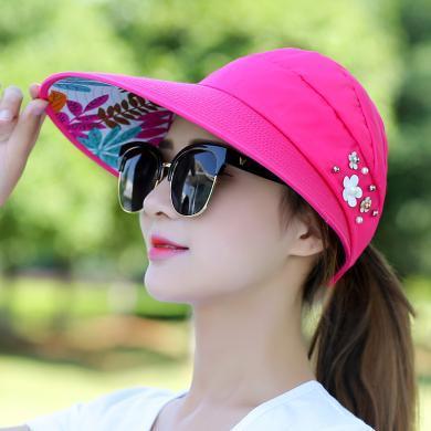 修允菲女戶外出游休閑防曬太陽帽可折疊防紫外線遮陽帽子樹葉珍珠款KMZ54