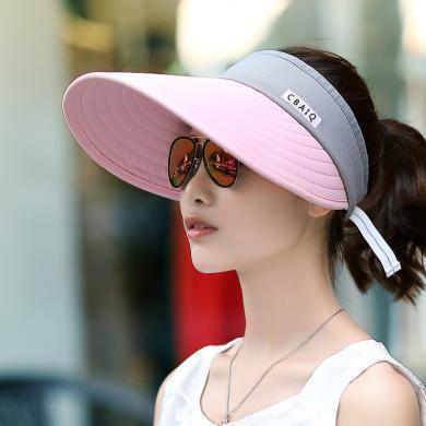 修允菲戶外太陽帽旅行防曬空頂帽夏季遮陽帽女士折疊帽休閑騎車帽子 MZ167