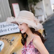 修允菲 夏天太阳帽韩版遮阳帽出游度假风可折叠户外防晒大沿沙滩帽