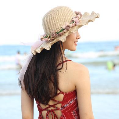 修允菲 沙灘帽2019年夏天成人款海邊出游可折疊大沿草帽防曬韓版百搭大帽檐