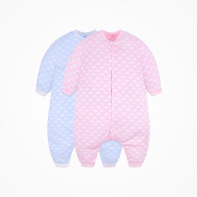 丑丑嬰幼 男女寶寶分腿睡袋四季新款可愛云朵拉鏈分腿睡袋衣 CNA009X