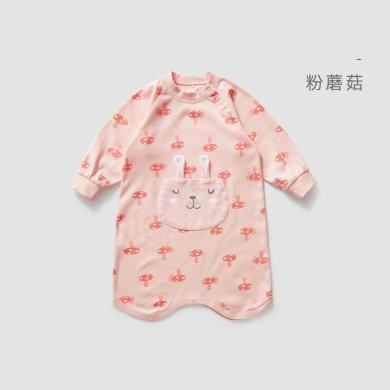 威爾貝魯 寶寶睡袍男女兒童睡衣低領純棉春秋睡裙卡通嬰兒家居服