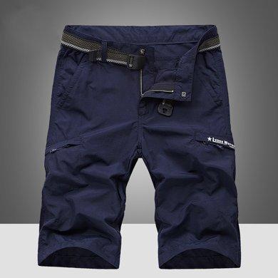 战地吉普  夏季新款休闲舒适速干裤男装短裤潮男士户外运动5分裤
