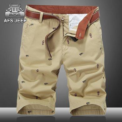 战地吉普 夏季新款休闲印花图案直筒战地中裤宽松大码男士五分短裤