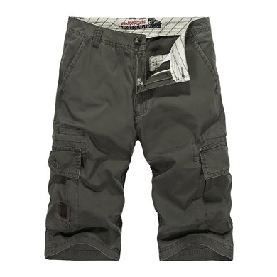 戰地吉普  夏季新款休閑直筒五分短褲多口袋男士沙灘褲吉普中褲