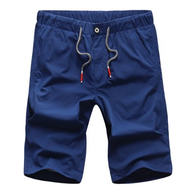 戰地吉普 夏季新款系帶休閑純色休閑褲男士速干大碼五分褲短褲