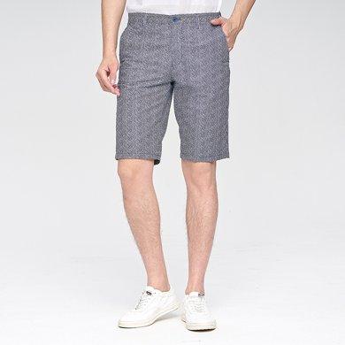 【清】才子男装 夏季新款男士休闲短裤舒适清凉薄款泡泡纱短裤休闲时尚五分裤587303705