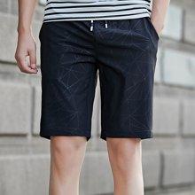 花花公子贵宾 夏季新款潮流几何图案宽松抽绳腰休闲裤子百搭男士五分裤短裤