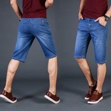 魔力怪车 夏季新款时尚潮流薄款直筒青少年休闲5五分裤中裤牛仔短裤
