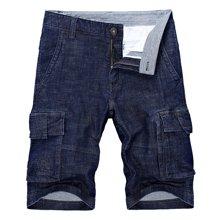 戰地吉普 夏季新款牛仔短褲男工裝多口袋休閑馬褲男士純色五分褲男褲子