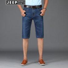 吉普(JEEP)牛仔短裤男 弹力直筒2018夏季新款 五分裤男宽松薄款5909Z