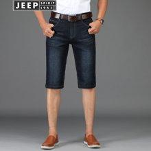 Jeep 吉普 牛仔短裤男2018夏季新品薄款直筒宽松大码五分裤606Z