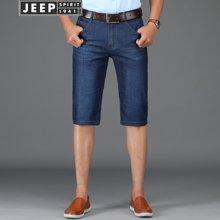 JEEP吉普 牛仔短裤男 2018夏季新品男士休闲宽松纯色牛仔五分裤男1606Z