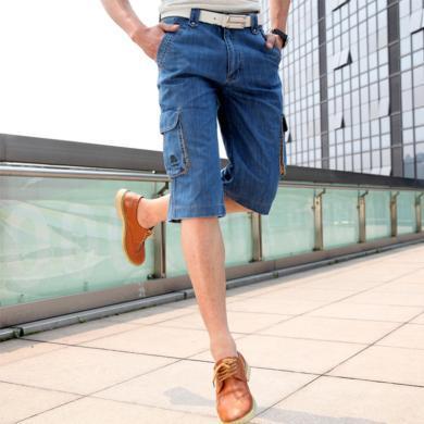 戰地吉普 夏季新款直筒寬松薄款七分牛仔中褲時尚休閑多口袋牛仔短褲男