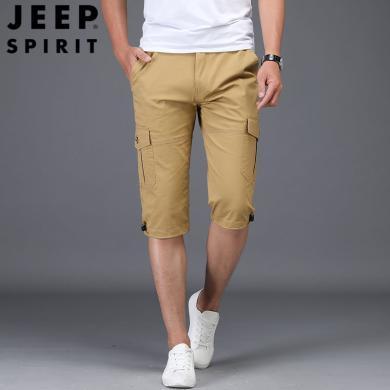 JEEP/吉普 夏季男士多袋短裤七分裤棉质中腰大码男裤休闲中裤 JPCS2596