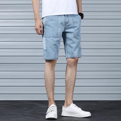 芃拉2019新款夏季男士牛仔五分裤无弹浅色拼接男士牛仔裤KY-J301