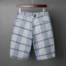 芃拉夏季新款韓版修身薄款休閑短褲彈力免燙五分褲藍色灰色格紋5分褲LMDS4116
