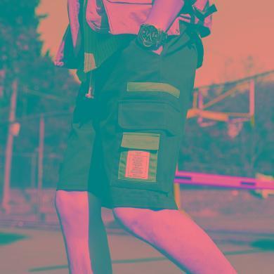 芃拉夏季工裝短褲男cargo工裝褲男國潮休閑寬松多口袋直筒五分褲薄款XKS2501