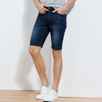 才子牛仔短褲 男裝夏季新品牛仔短褲青年貓須水洗微彈五分褲 CZ-58193E0105